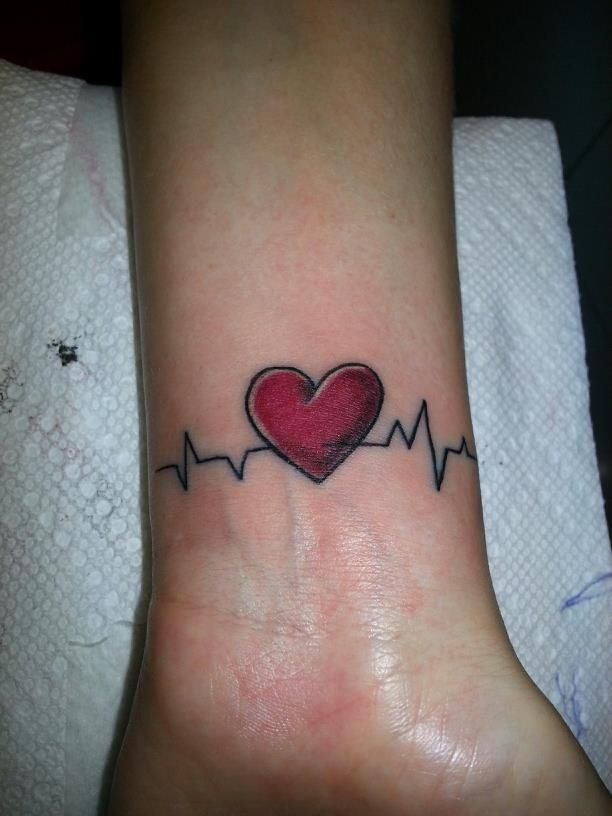 heart and ekg wrist tattoo my fav tat so far future ink ideas pinterest initials the o. Black Bedroom Furniture Sets. Home Design Ideas