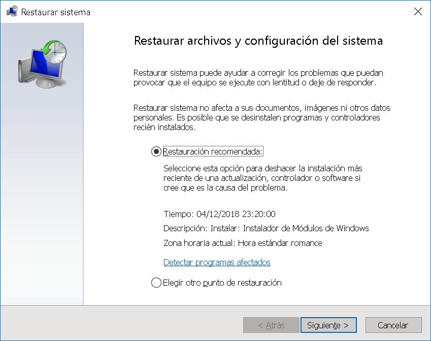 Restaurar sistema y archivos en Windows 10