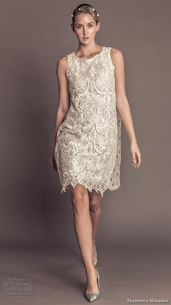 francesca miranda fall 2016 bridal sleeveless jewel neckline lace embroidered beautiful shift short wedding dress style julia