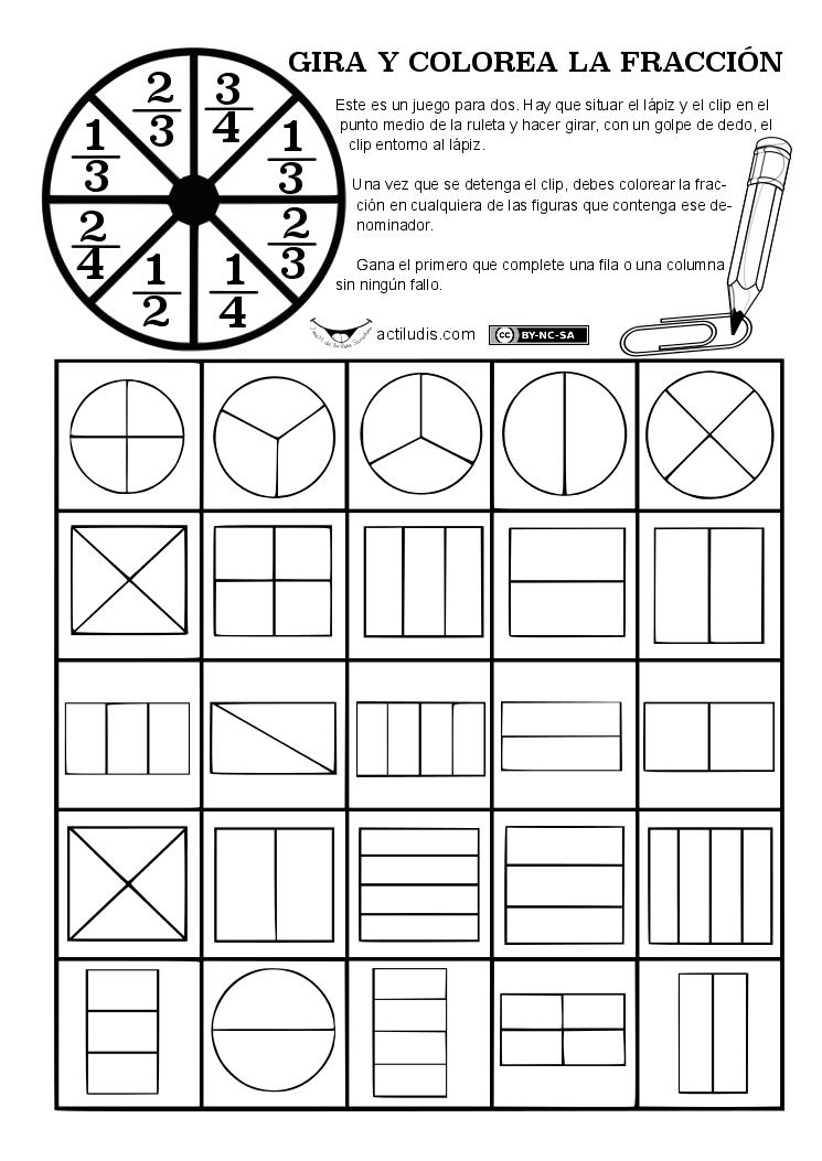 Juego Ruleta Reconocimiento De Fracciones Matematicas Ludicas