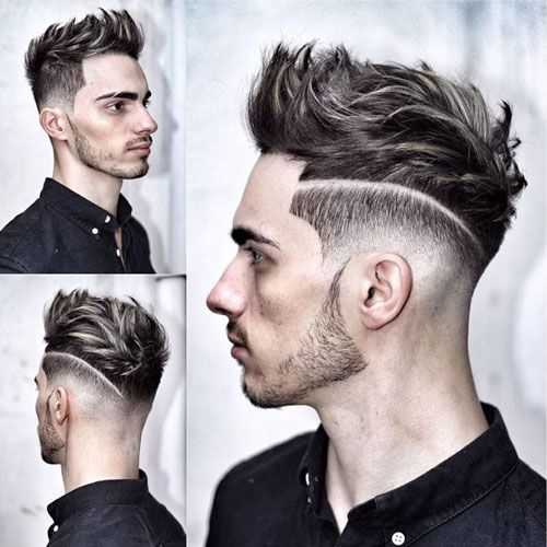 Quiff with Low Skin Fade and Part