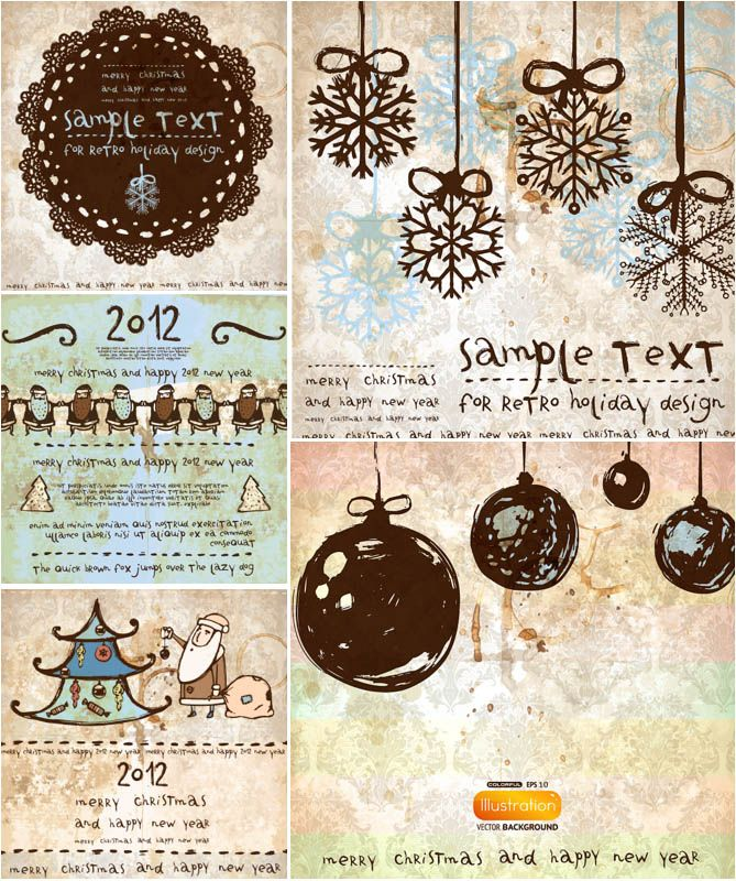 Set Of 5 Vector Grunge Hand Drawn Christmas Cards With Vintage Style  Illustrations Of Snowflakes, Santa Claus, Frames And Ornaments For Your  Christmas ...