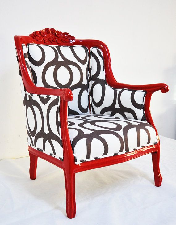 Red Armchair With Black And White Geometric Fabric...by Name Design Studio