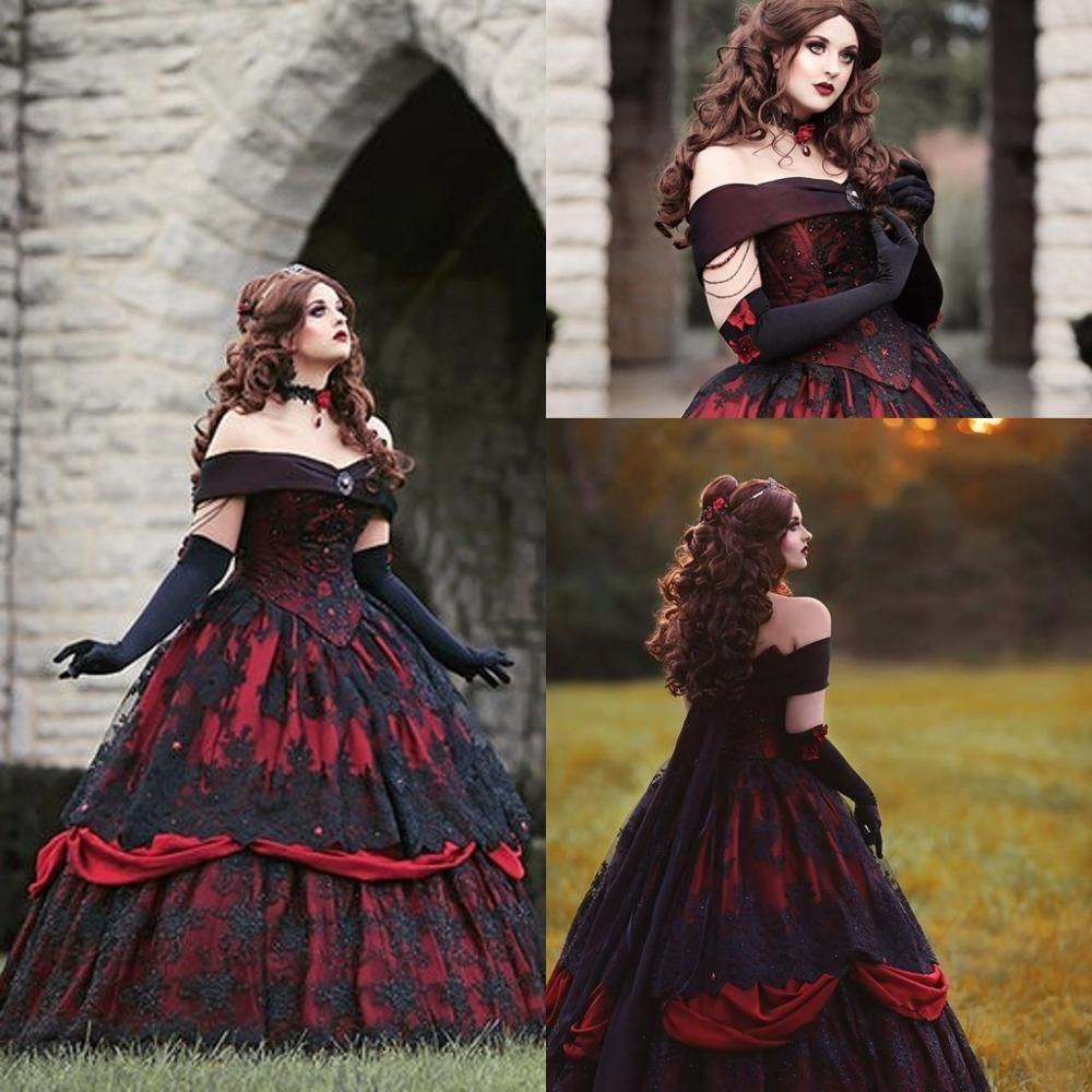 Gothic Belle Red Black Lace Wedding Gown Vintage Lace Up Corset Steamp Wedding Gowns Vintage Bridal Gowns Vintage Red Wedding Gowns [ 1000 x 1000 Pixel ]