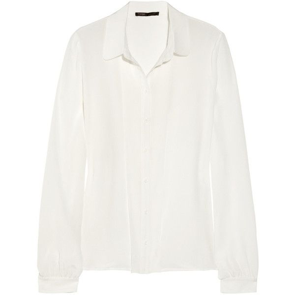 Maje Hybrides silk-chiffon blouse ❤ liked on Polyvore