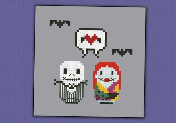 Jack and Sally - The Nightmare Before Christmas parody - Cross stitch PDF pattern