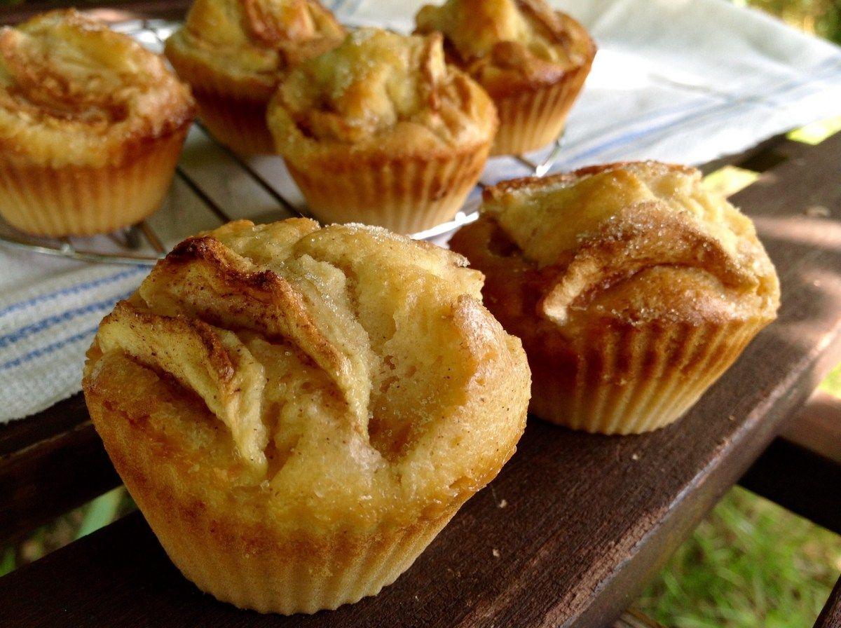 Apfelmuffins mit Buttermilch und Zucker und Zimt, einfach und gut
