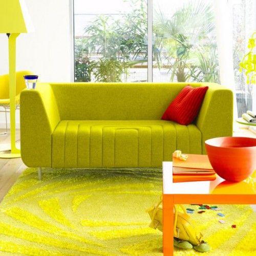 farbrausch schöner wohnen - Einrichtungsidee in grün Grün - wohnzimmer grun orange