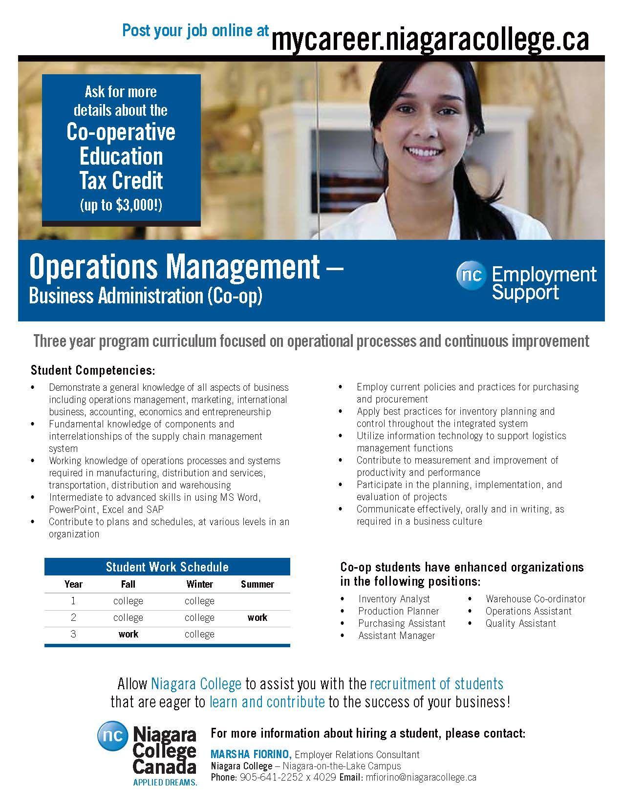 Business administration operations management niagara