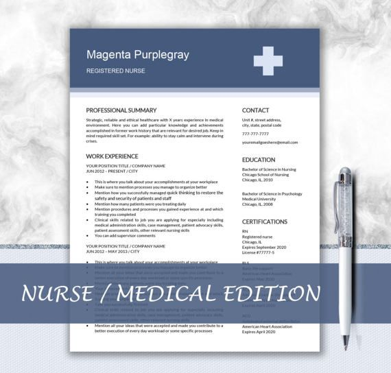Medical Resume Nurse CV Template Doctor CV by DocumentFolder CV - nurse cv template