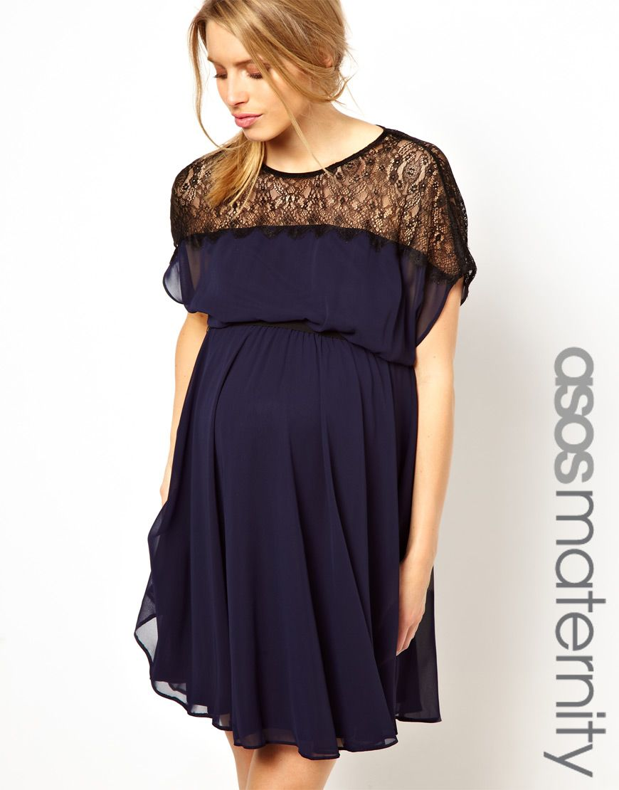 ASOS Maternity | ASOS Maternity Skater Dress With Scallop Lace Panel ...