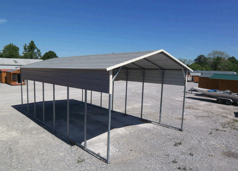 Metal Carport With Half Panel On Sides With Images Metal