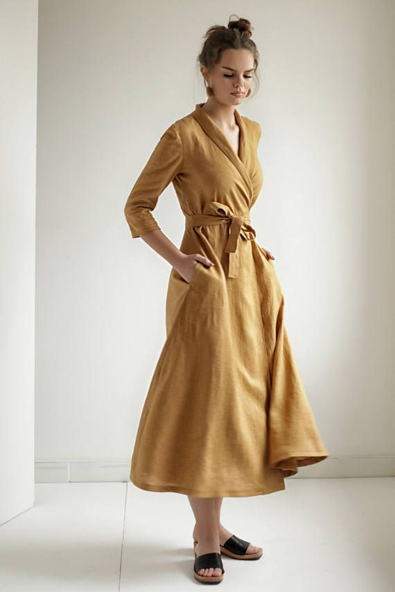 9798bfc458 Mustard Linen Shawl Collar Wrap Dress in 2019