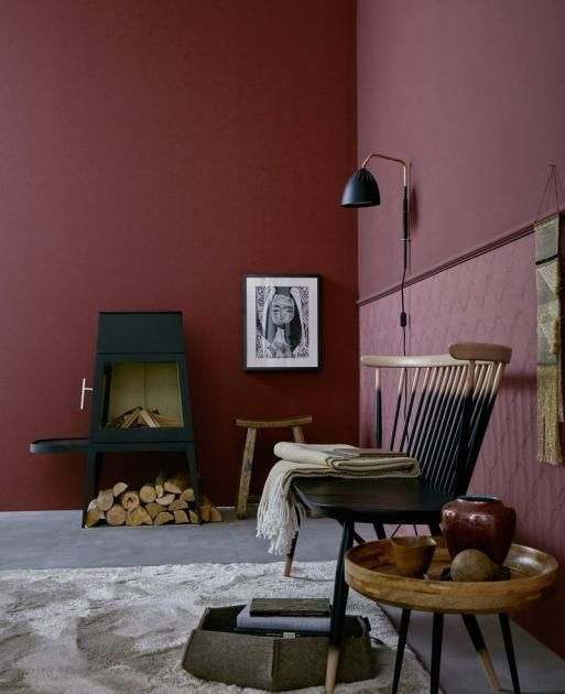 wandfarbe die rote wand weinrot trendfarbe napa. Black Bedroom Furniture Sets. Home Design Ideas