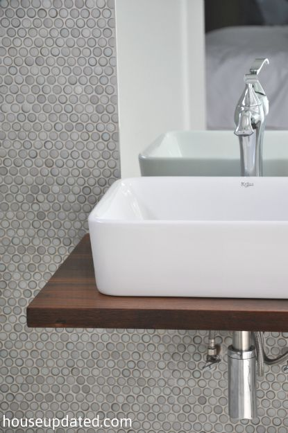 Walnut Floating Shelf Sink Vanity With Vessel Sink Modern P Trap Gray Penny Tile Playing