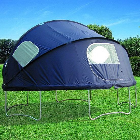 Idea: Trampoline Tent This will be good for the mosquitoes. But I swear there is nothing like camping it under the stars!This will be good for the mosquitoes. But I swear there is nothing like camping it under the stars!