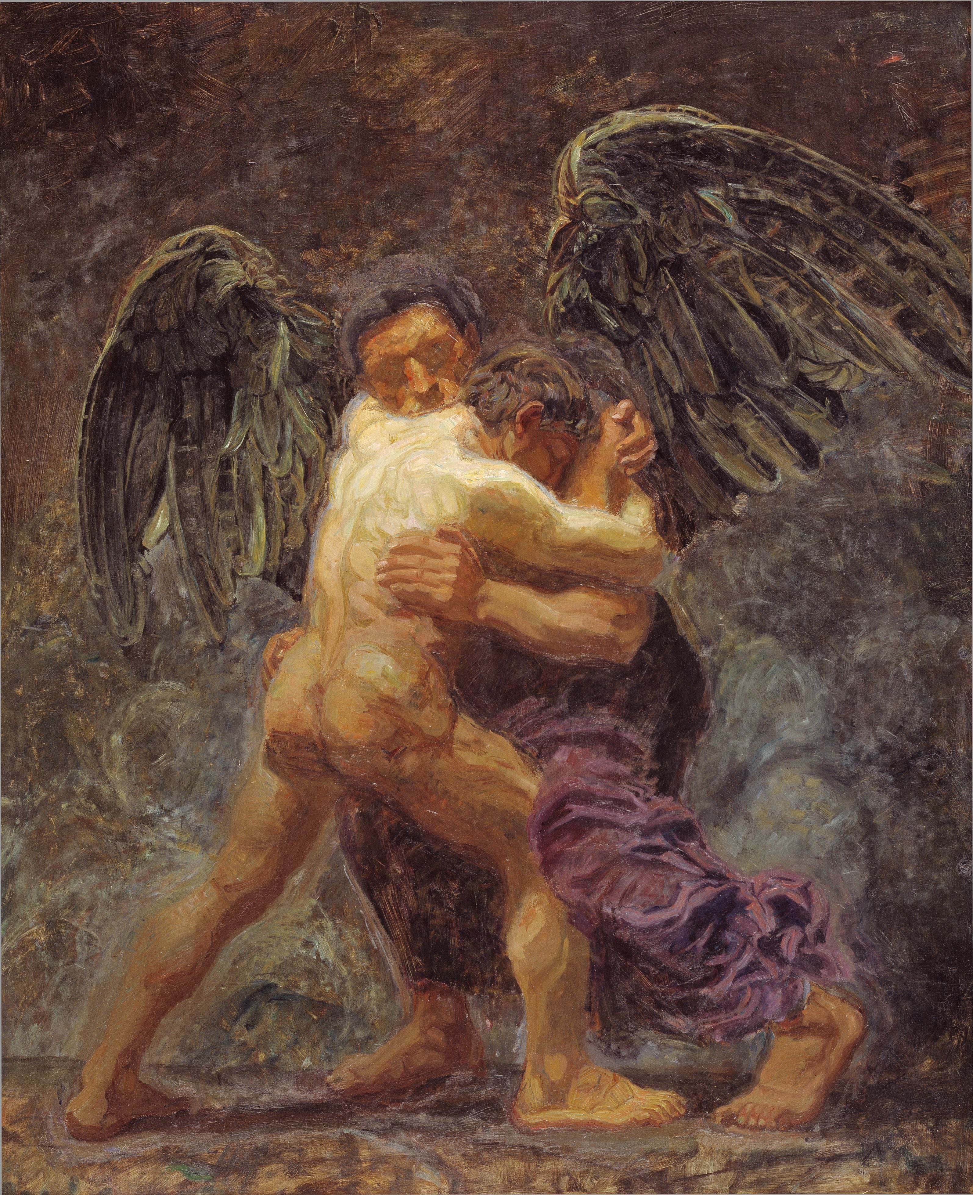 jacob wrestling with the angel by oluf hartmann 1907 statens