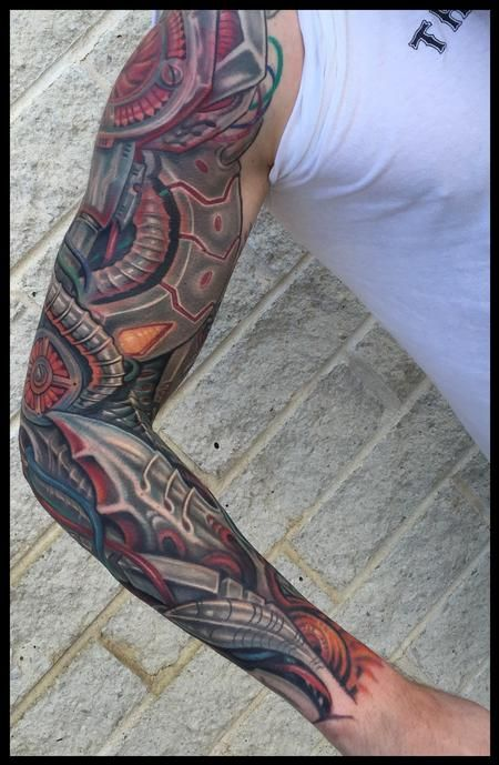 15af4e72a Phil Robertson - Robotic anime biomech sleeve tattoo   Tattoos ...