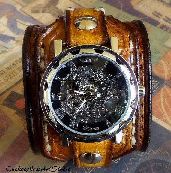 Steampunk Leather Wrist Watch Men's watch by CuckooNestArtStudio