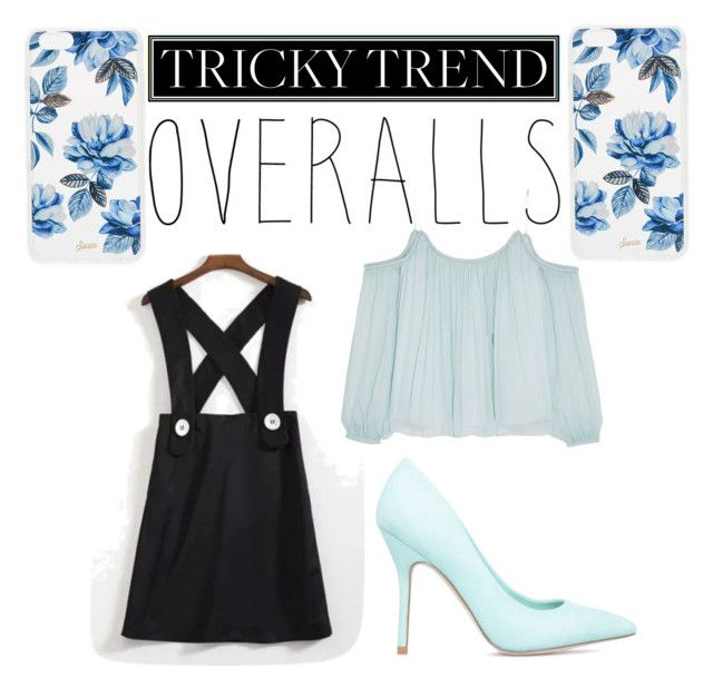 """Untitled #10"" by xzoey02 ❤ liked on Polyvore featuring WithChic, Elizabeth and James, ShoeDazzle, Sonix, TrickyTrend and overalls"