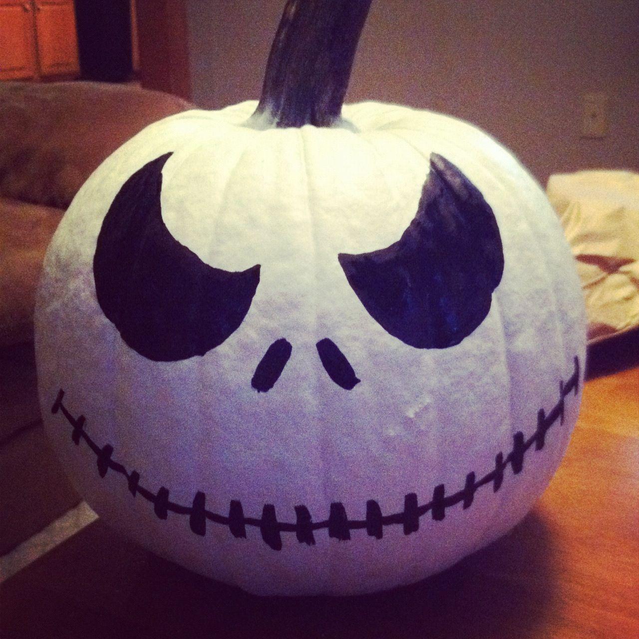 Jack skellington pumpkin. Spray paint a pumpkin white and