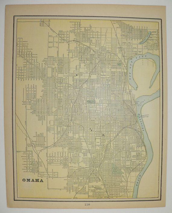 Antique Map of Omaha Nebraska Sioux City Iowa Map 1897 Vintage Map