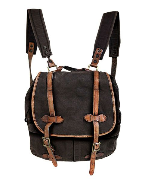 661a094841 Porte Monnaie · Sac À Mains · Brown Canvas Backpack with Twin Pin Buckle  Belt Detail Tissus, Folie, Sacs À Dos