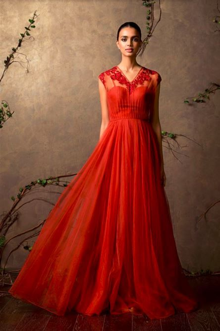 shyamal bhumika ruby red designer indian wedding gown