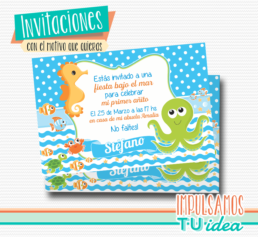 Animales Bajo El Mar Invitación Animales De Mar Imprimible