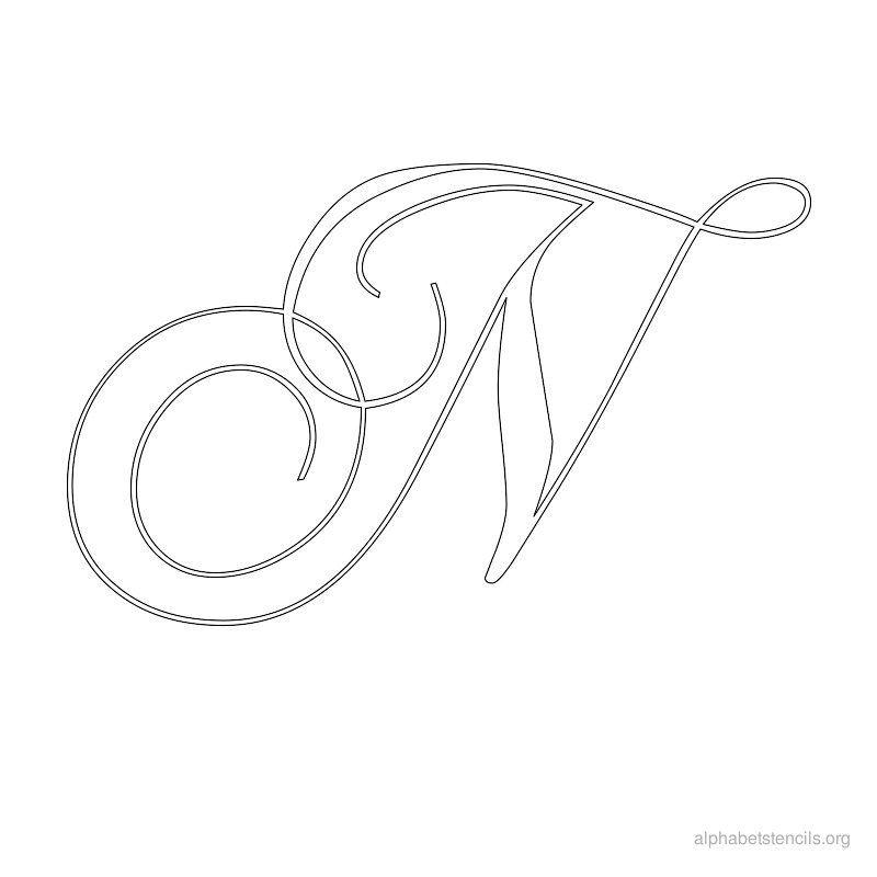 Afdrukken gratis alphabet stencils kalligrafie n sier