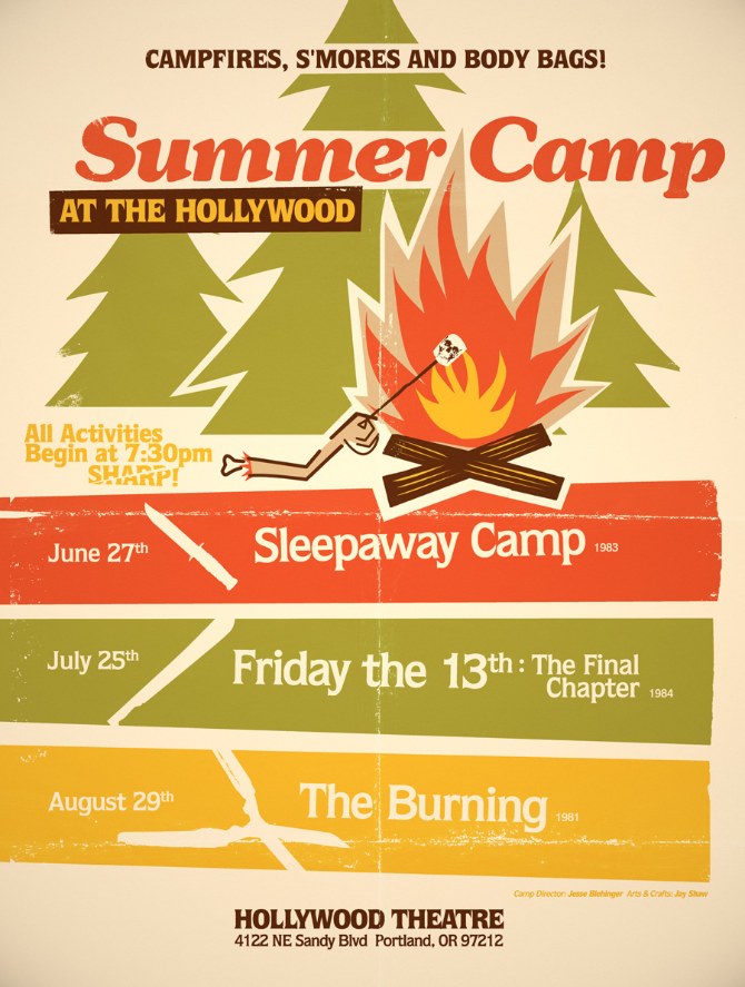 summer camp at the hollywood by jay shaw poster designs