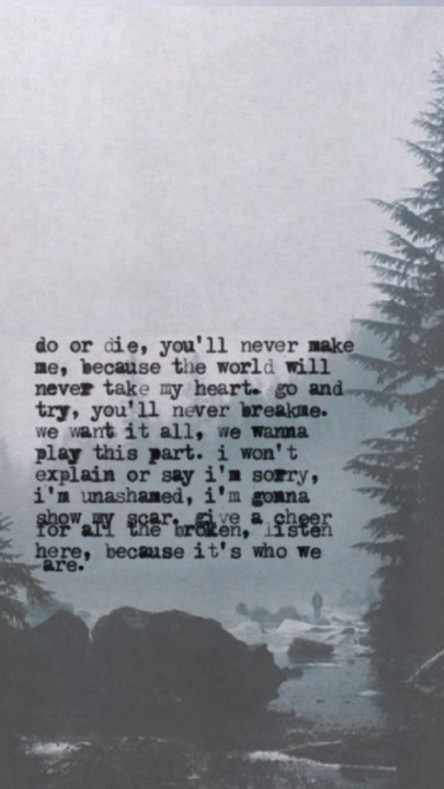 Do Or Die You Ll Never Make Me Because The World Will Never Take My Heart Go And Try You Ll Never Break Me We Want It With Images Mcr Lyrics My Chemical