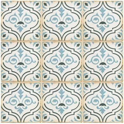 Merola Tile Archivo Fleur De Lis 4 7 8 In X Ceramic Floor And Wall 5 9 Sq Ft Case Smoke Blue Teal Sepia Low Sheen