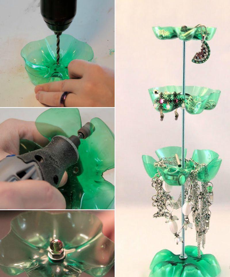 activite manuelle à base de recyclage de bouteilles en plastique- porte-bijoux