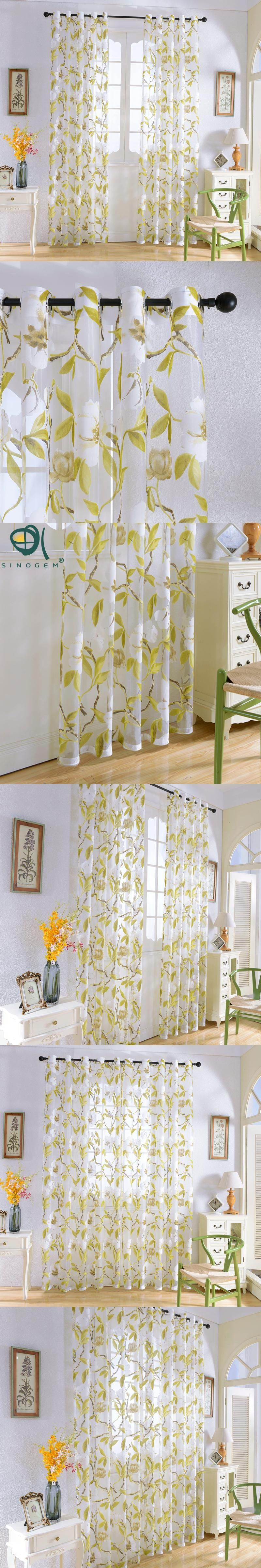 Sinogem News 2016 Flowers Curtains Tulle Window Curtain for Living ...