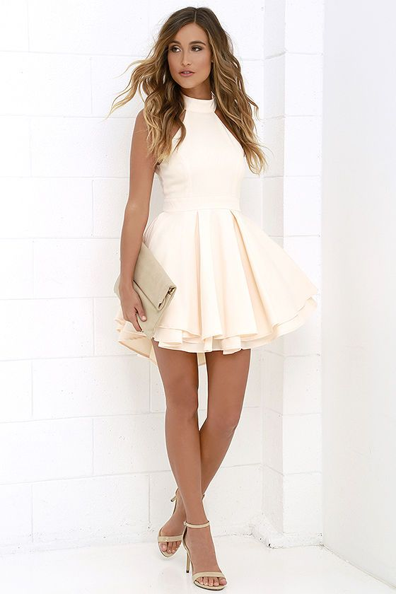 aa656cc63be I need this peach skater dress in my life right now.