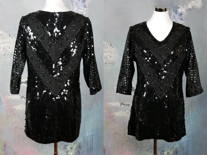 e9d74e011ef 1960s Black Sequin Top
