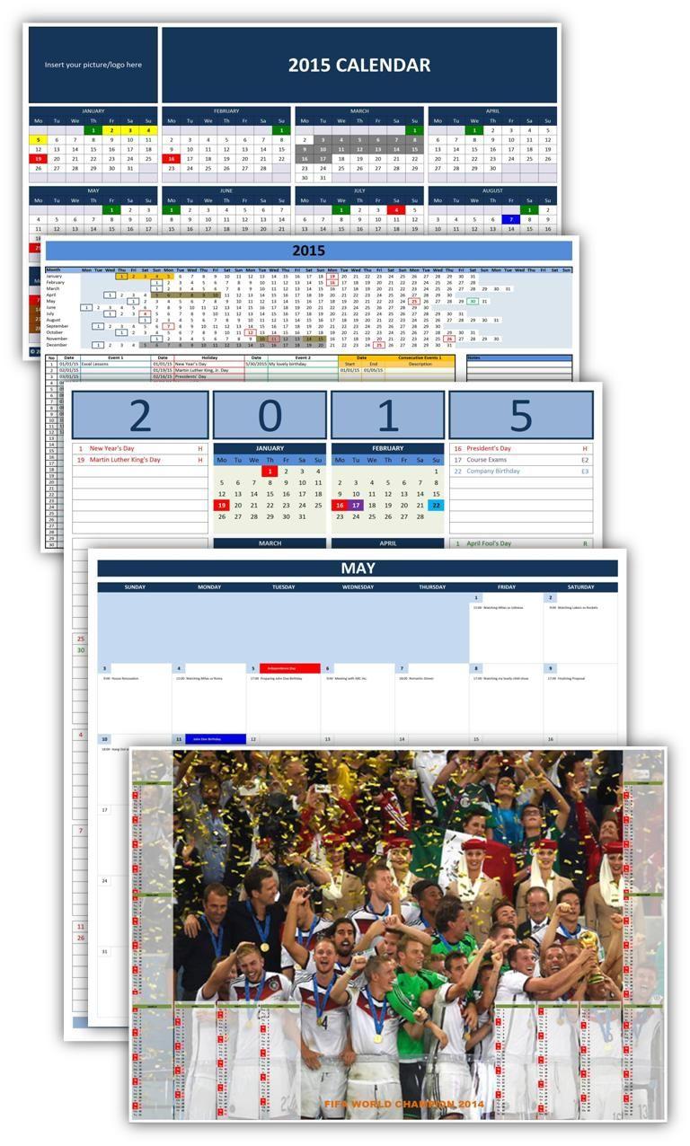 microsoft excel calendar templates 2015