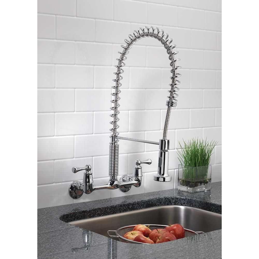 Tosca 2 Handle Wall Mount Pull Down Sprayer Kitchen Faucet