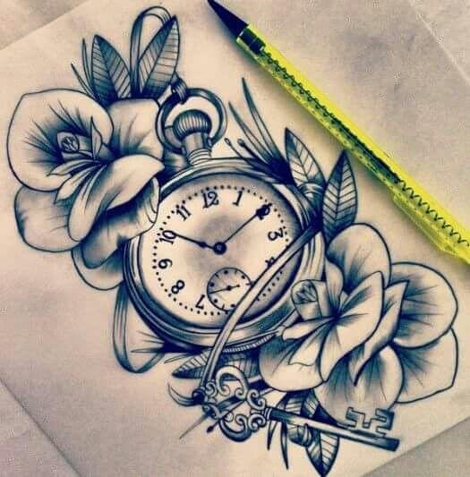 4111fa36154f0 Pocket watch and flowers   Tats   Tatouage, Tatouage croquis ...