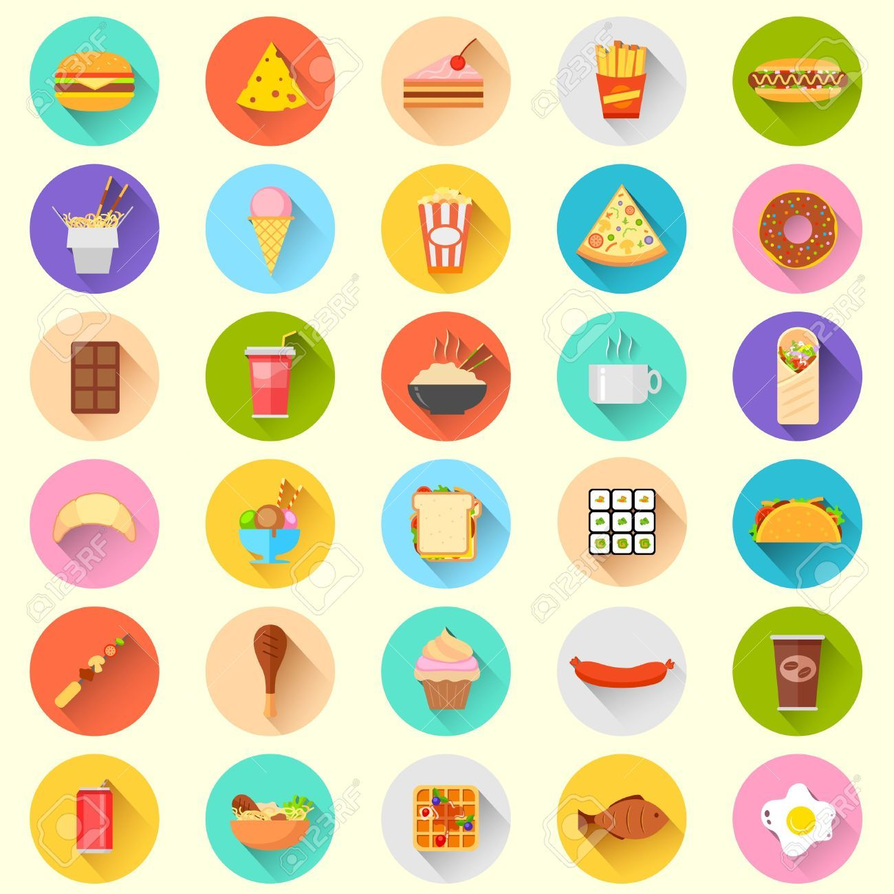 Illustration Of Flat Fast Food Icon Royalty Free Cliparts, Vectors ...