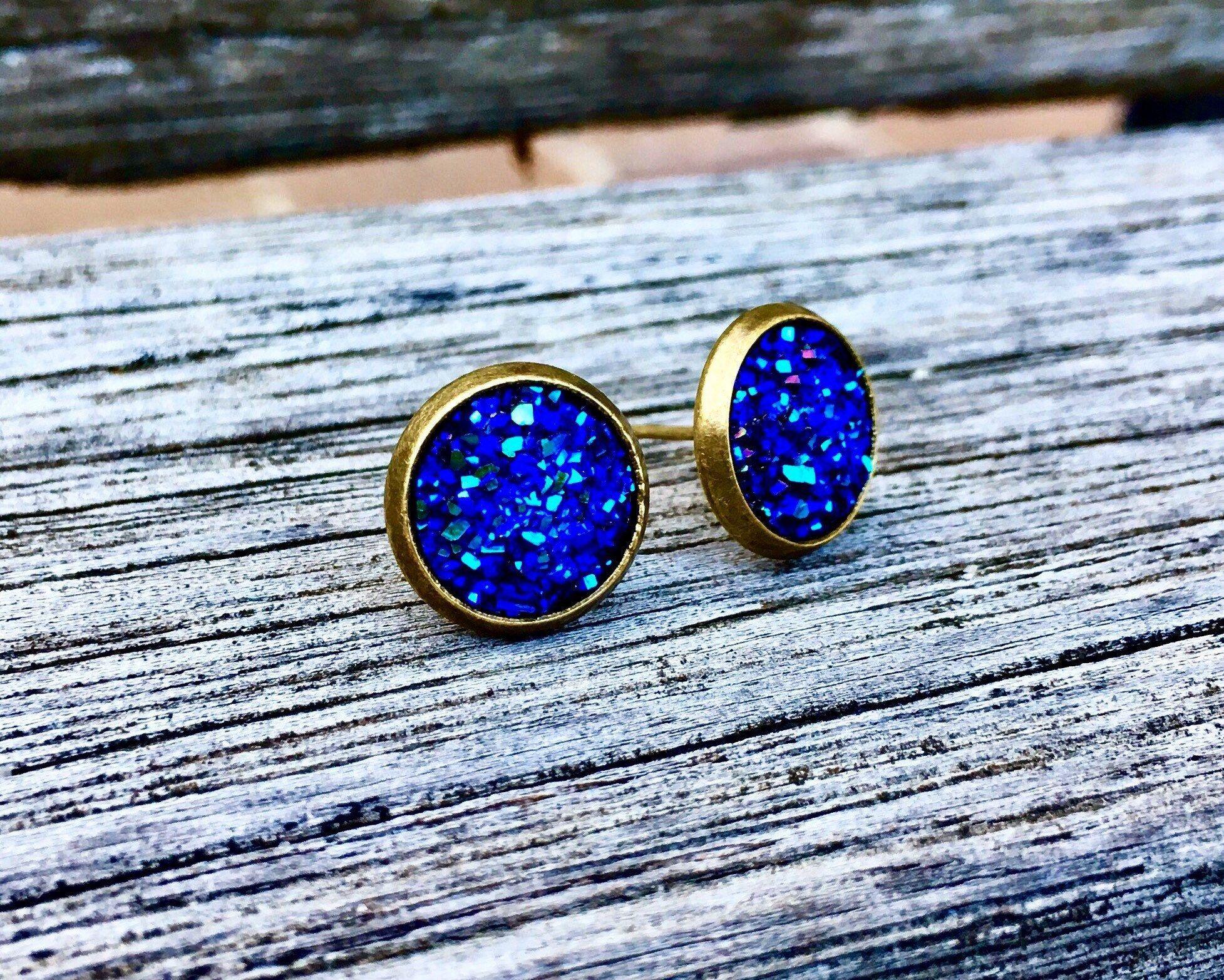 10mm PurpleBlue Stainless Steel Faux Druzy Stud Earring