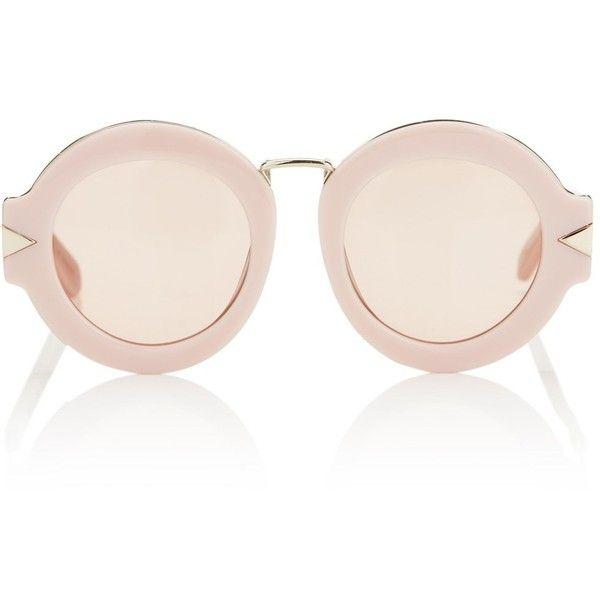 Karen Walker Dusty Pink Maze Sunglasses (1.800 NOK) ❤ liked on Polyvore featuring accessories, eyewear, sunglasses, glasses, pink, cut out sunglasses, round frame glasses, karen walker eyewear, round glasses and pink round glasses