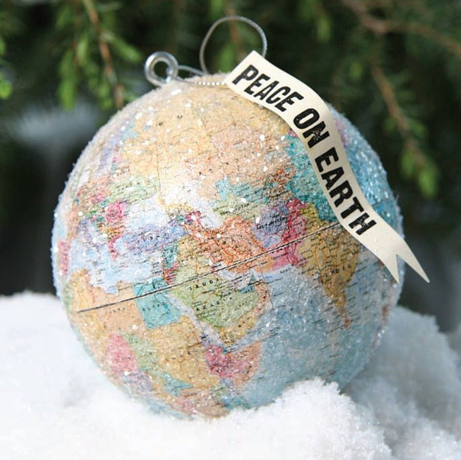 World globe christmas ornaments - Find This Pin And More On Christmas Cody Foster Peace On Earth Globe Ornament