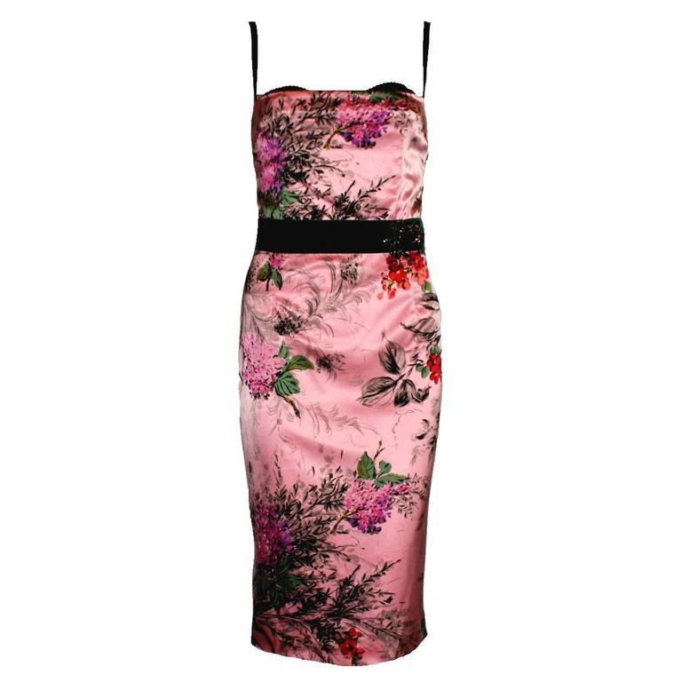 3bc43bf4dcd6 Dolce & Gabbana Cocktail Dress - Dolce Gabbana Floral Silk & Velvet Corset  Brooch Silk
