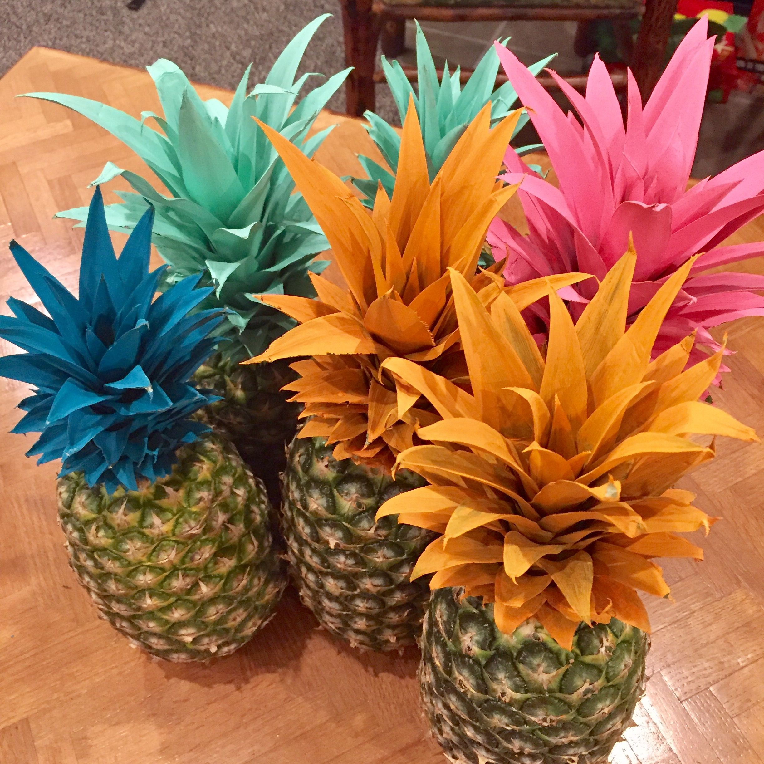 Vibrant Painted Pineapple Centerpieces And Decor