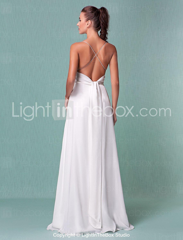 Funda / Columna Escote Hasta el Suelo Raso Vestido de novia con En ...