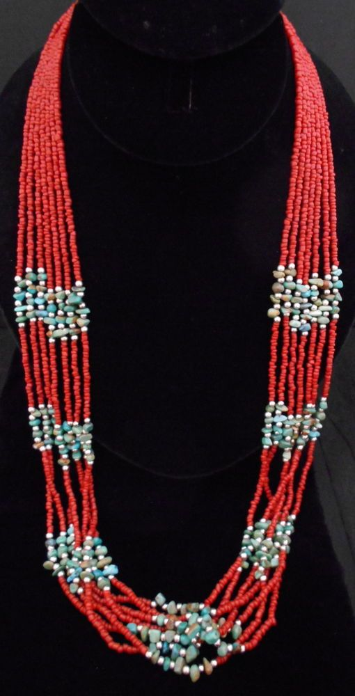 Estate Silver and Turquoise Necklace Red Coral MULTI STRAND Nugget *732