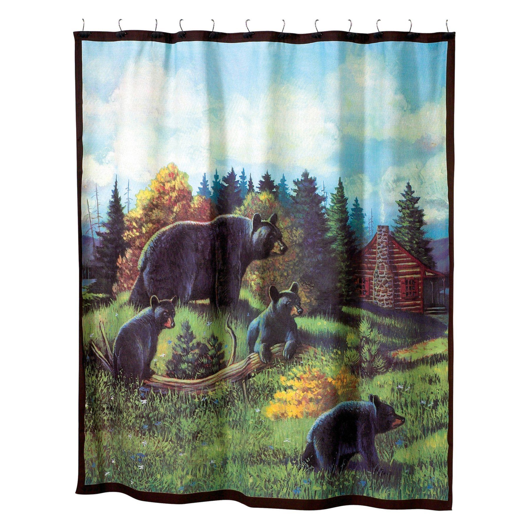 Cabin Shower Curtain Hooks Black Bear /& Moose Lodge Bathroom Rustic Decor 12 NEW