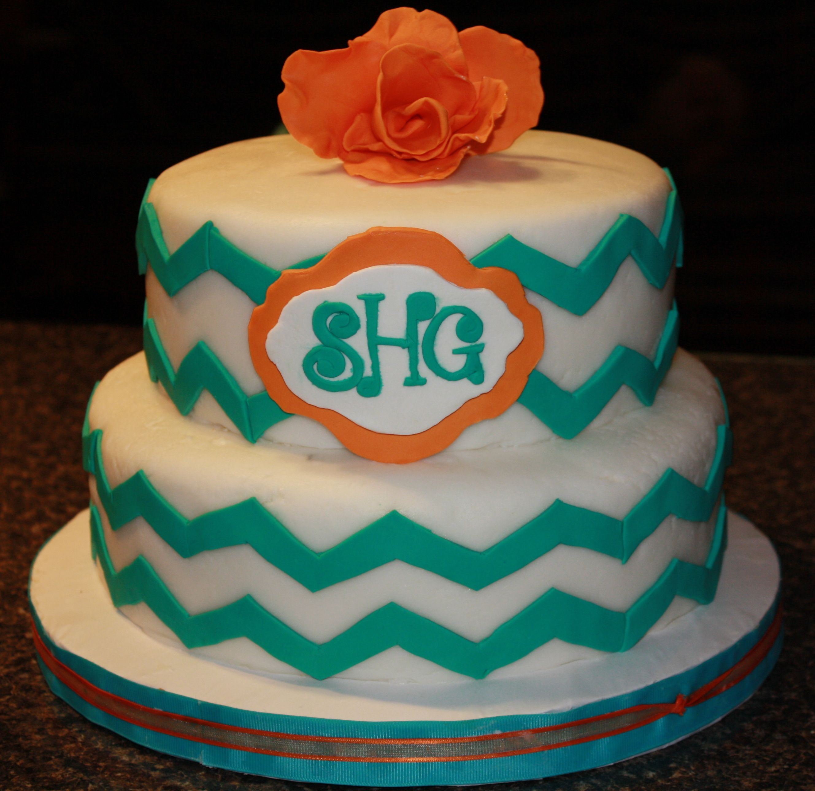 Turquoise orange chevron birthday cake My Cake Creations